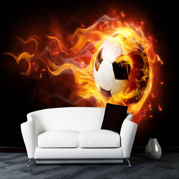 Custom Photo Wallpaper Large Mural 3D Stereo Football Fire Mural KTV Bar Cafe Living Room Wall Paper Roll Papel De Parede 3D custom 3d mural 3d stereo personality ktv bar background wall mural wallpaper graffiti music symbol mural for ktv bar