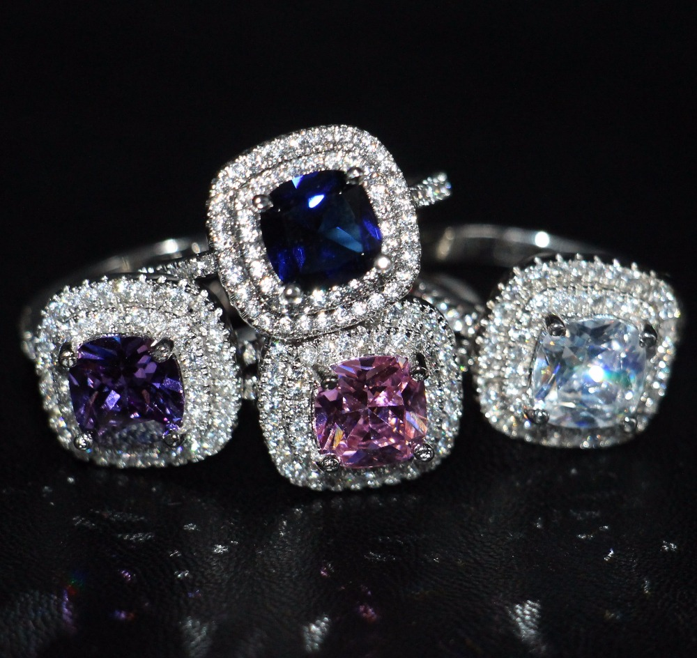 2017 New Arrival Luxury Jewelry 925 sterling Silver 3CT Cushion Cut 5A Multi Color CZ Women