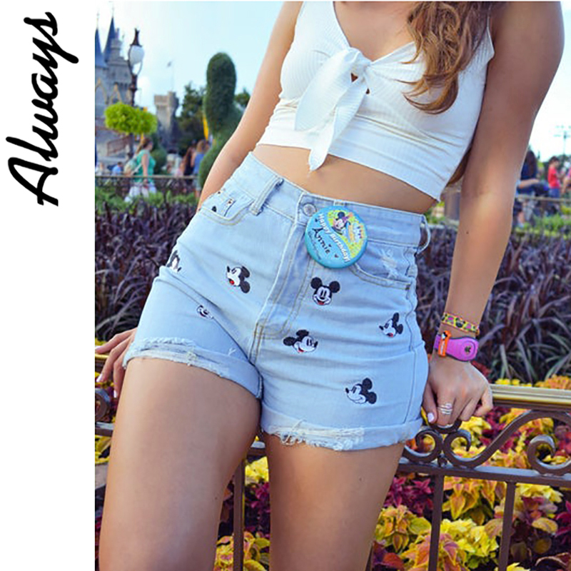 Alwayss High Waist Ripped Disney Mickey Mouse Embroidery Jean Shorts For Women Summer Hole Jeans