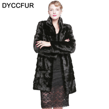 DYCCFUR real mink fur coat 90cm fashion long fur coat Genuine Leather Mandarin Collar mink fur coat women natural black coats