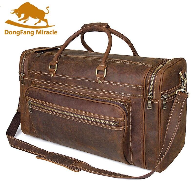 Высокой емкости винтажная натуральная кожа дорожная сумка сумки на ремне Для Мужчин's Duffle дорожные сумки большой емкости путешествия сумки