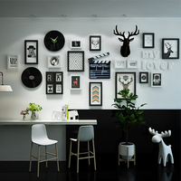 SUFEILE Solid Wood Photo Frame Home living Room Nordic Decor Frame Wall Creative Wall Clock, Deer Head Combination Photo Frame