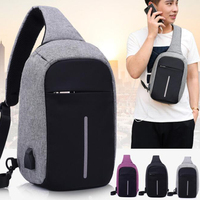 Cross Body Multilayer Waterproof Canvas Polyester Anti Theft Backpack With Usb Charger Case For Ipad Pro
