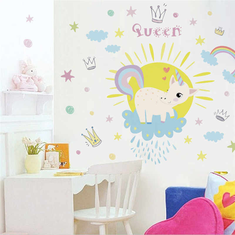 Colorful Unicorn Rainbow Queen Wall Stickers For kids Room Girls Bedroom  Wall Decals Window Nursery Decor Birthday Gift