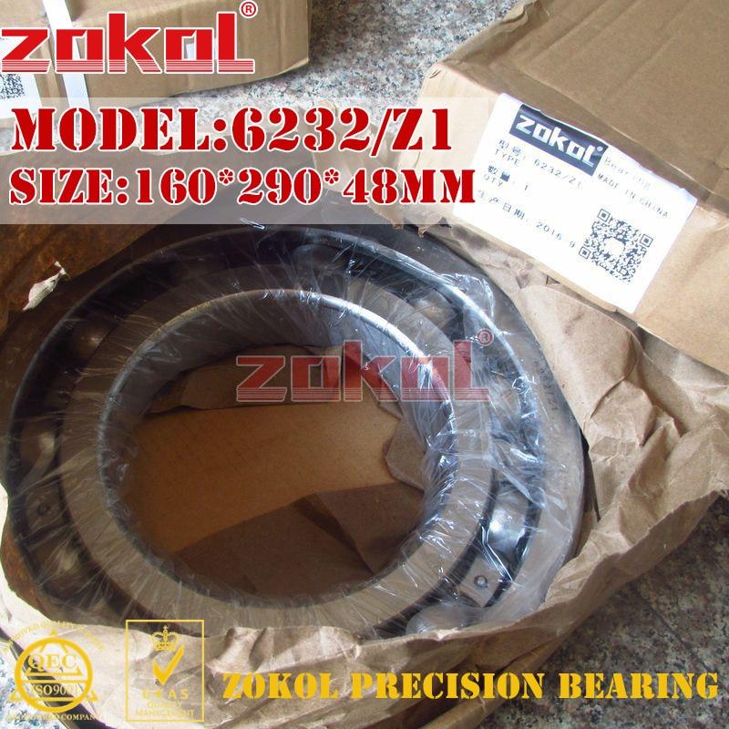 ZOKOL bearing 6232 Z1 Groove ball bearing 160*290*48mm zokol bearing 51312 thrust ball bearing 8312 160 200 31mm