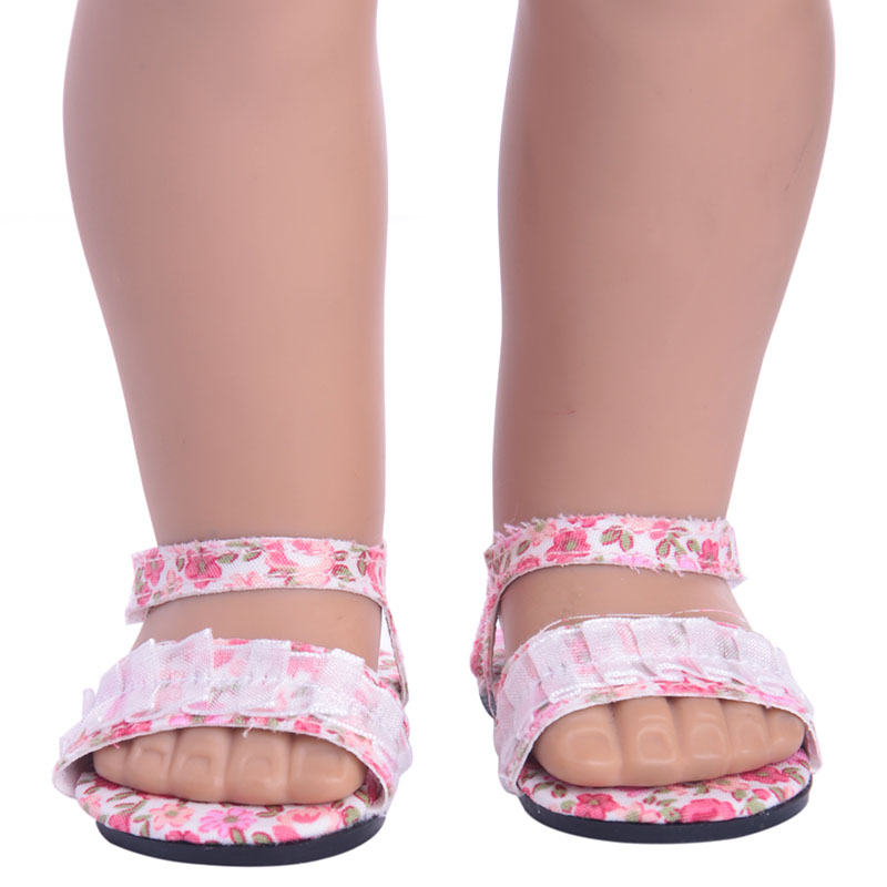 Super cute Doll shoes Printed sandals for 18 inch American girl doll for baby gift ,Doll accessories