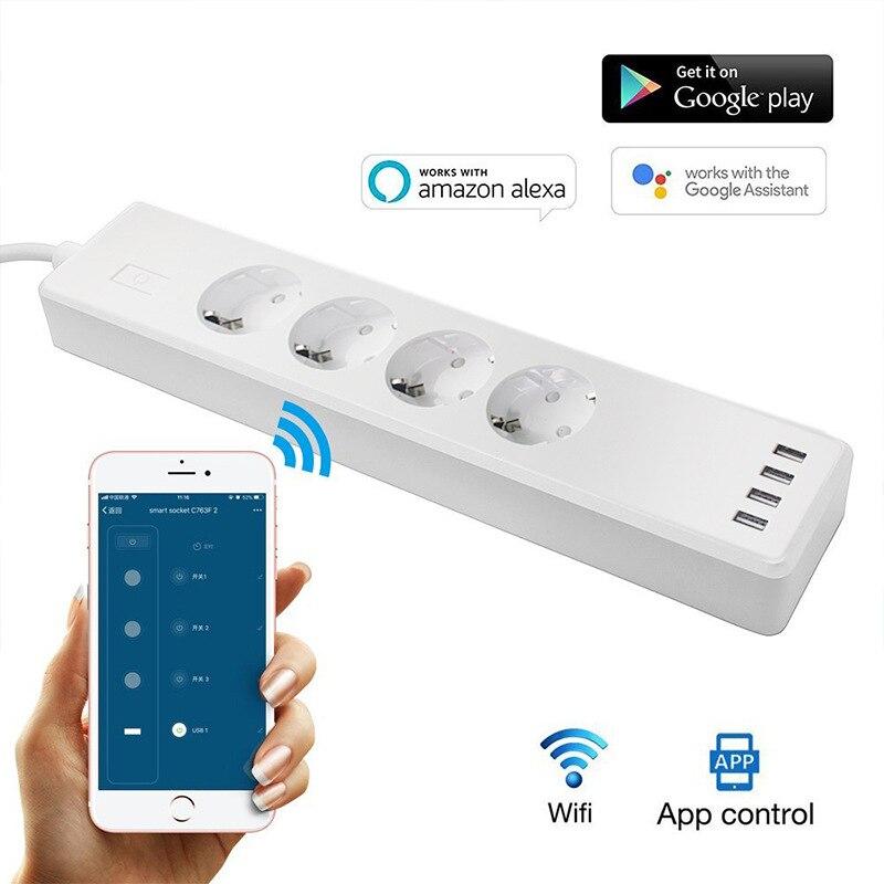 Multiprise WiFi prise intelligente 4 EU prise Protection contre les surtensions prise de contrôle à distance avec rallonge 1.8m interrupteur indépendant