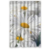 White Pure Daisy Flower Sea High Quality Fabric Bathroom Shower Curtain 48 X 72 Inches