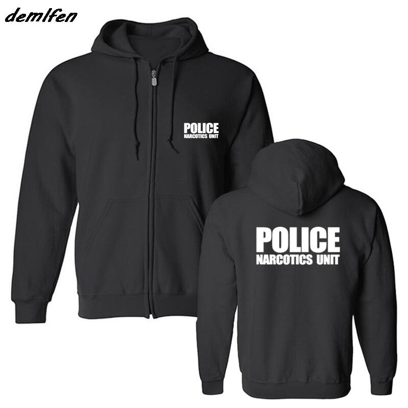 Fashion Casual Men Fleece Hoodie Police Unit Law Enforcement Drugs Front & Back Print Sweatshirt Hip Hop Jacket Coat Harajuku gorras planas de fortnite