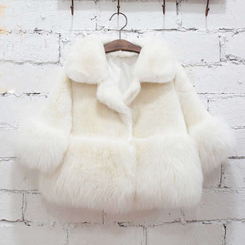 2018 Winter New Girl Fashion Fur Coat Children Clothing White Baby Fur Coat Girls Thick Wool Winter Coat For 2-10 years Girl