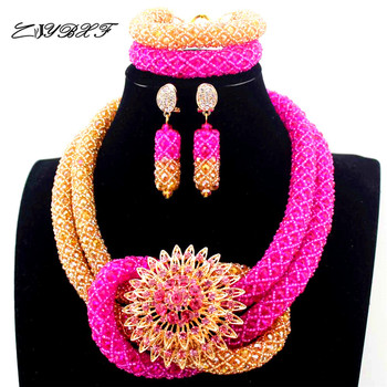 Latest Hot Pink and champagne Chunky Bold Nigerian Jewelry Set Twisted Crystal Seed Beaded Necklace Jewelry Free Shipping L1072