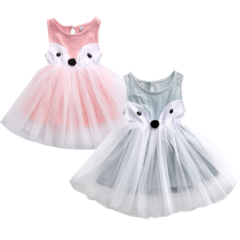 Girl Cartoon Sleeveless Dress Cute Toddler Kids Baby Foxes Dress Girls Party Princess Pageant Dresses toddler kids baby girls princess dress party pageant wedding dresses with waistband