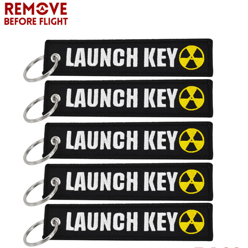 5PCS Nuclear Launch Key Chain Bijoux Keychain for Motorcycle Car Scooters Tag Embroidery Key Fob Holder Key-ring OEM chaveiro