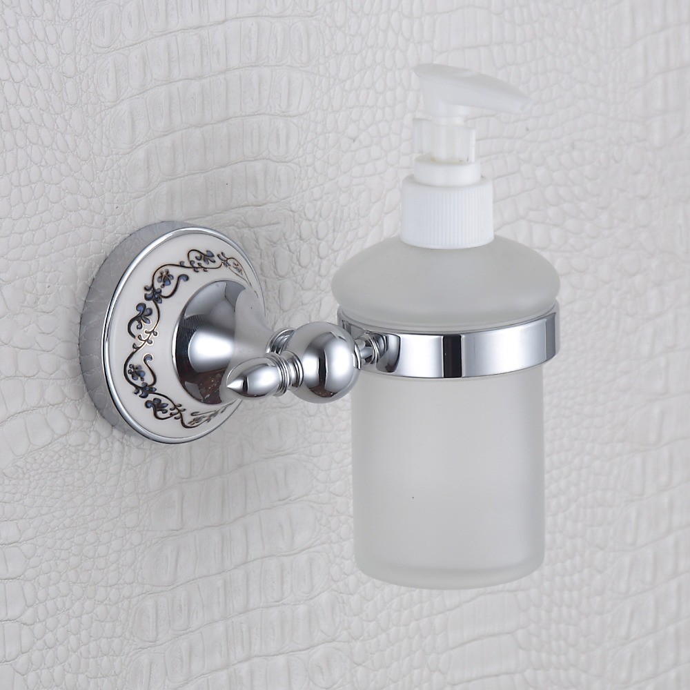 Chrome Bathroom Accessories Blue and White Luxury Soap Dispenser ...