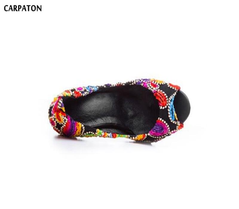 Broder Rétro 2018 Mince Talon As Haute Modèle Date Bout Mode Couverture À Chaussures Ouvert Peu De Carpaton Talons Profonde Style Piture Femmes Peep dEtqqxP