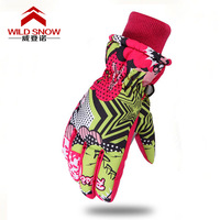 2017 Winter Kids Outdoor Sports Skiing Skating Gloves Super Thick Warm Gloves Blue Pink Boys And