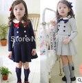 2016 Outono Inverno Bebê Meninas Moda Manga Comprida peter pan Colarinho Arco Vestido da Menina Da Escola Vestido de Crianças Roupas Casuais