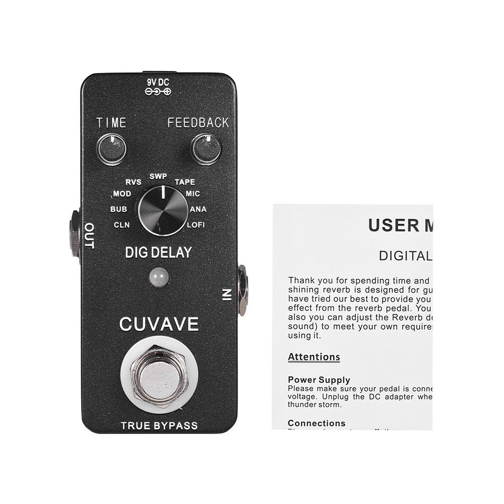 digital delay guitar effect pedal with 9 delay effects true bypass full metal shell in guitar. Black Bedroom Furniture Sets. Home Design Ideas