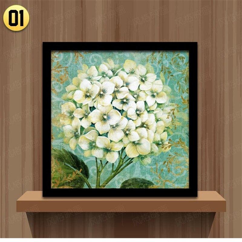 Blanco negro enmarcado moderno europeo flor lienzo pintura casa ...