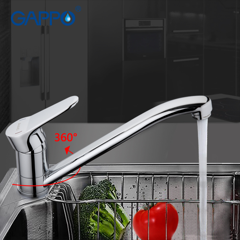 GAPPO Polished Brass Kitchen Faucet Mixer Chrome Kitchen Sink Tap Long Nose Filtered Save Water Tap