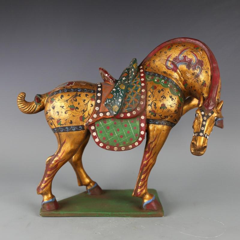 6Antique QingDynasty porcelain Statue / sculputre,Tang San Cai painted horse,Hand-painted crafts,Decoration,Collection&Adornment