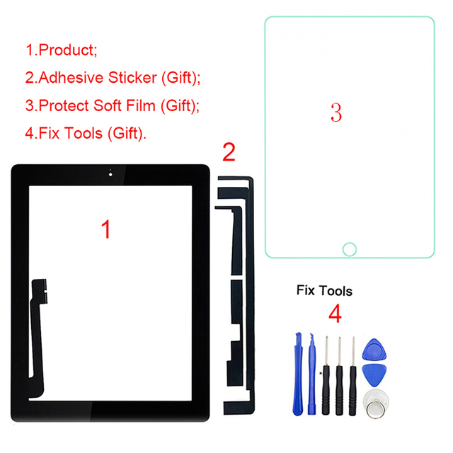 """1Pcs For iPad 3 3rd Gen A1416 A1430 A1403 9.7"""" LCD Outer Touch Screen Digitizer Front Glass Panel Replacement"""