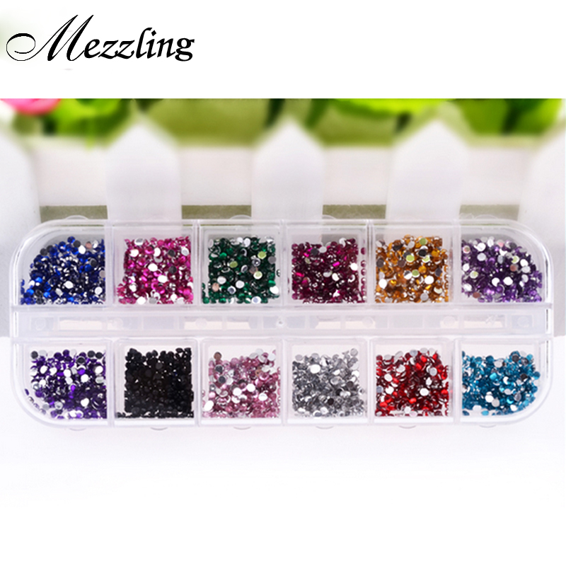 Nail Art Rhinestones,12colors 2000pcs/set Flatback Glitter Acrylic Strass UV Gel Nail Stones,DIY 3d Nail Decor Accessories Tools biutee 12 colors nail rhinestones 4mm acrylic nail art rhinestones decoration for uv gel phone laptop diy nail tools