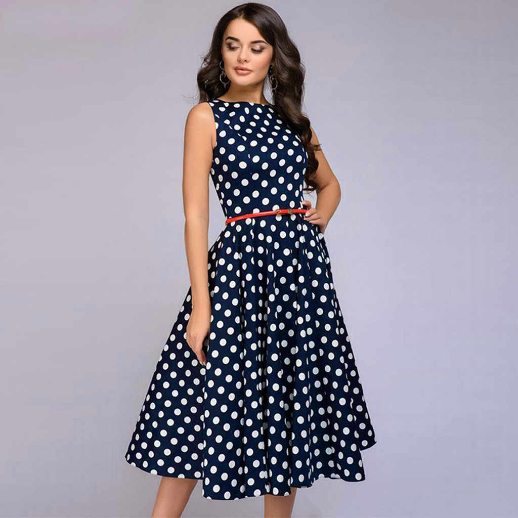 Knielengte Cover Jurk Zomer Vrouwen Strand Dot Print Black Dress Mouwloze Vintage Jurk Zip Flare Retro Sukienka Vestidos # g7