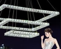 Супер тройной слой блеск современные хрустальная люстра свет искусства дизайн кулон лампы площадь для дома ресторан декоративные