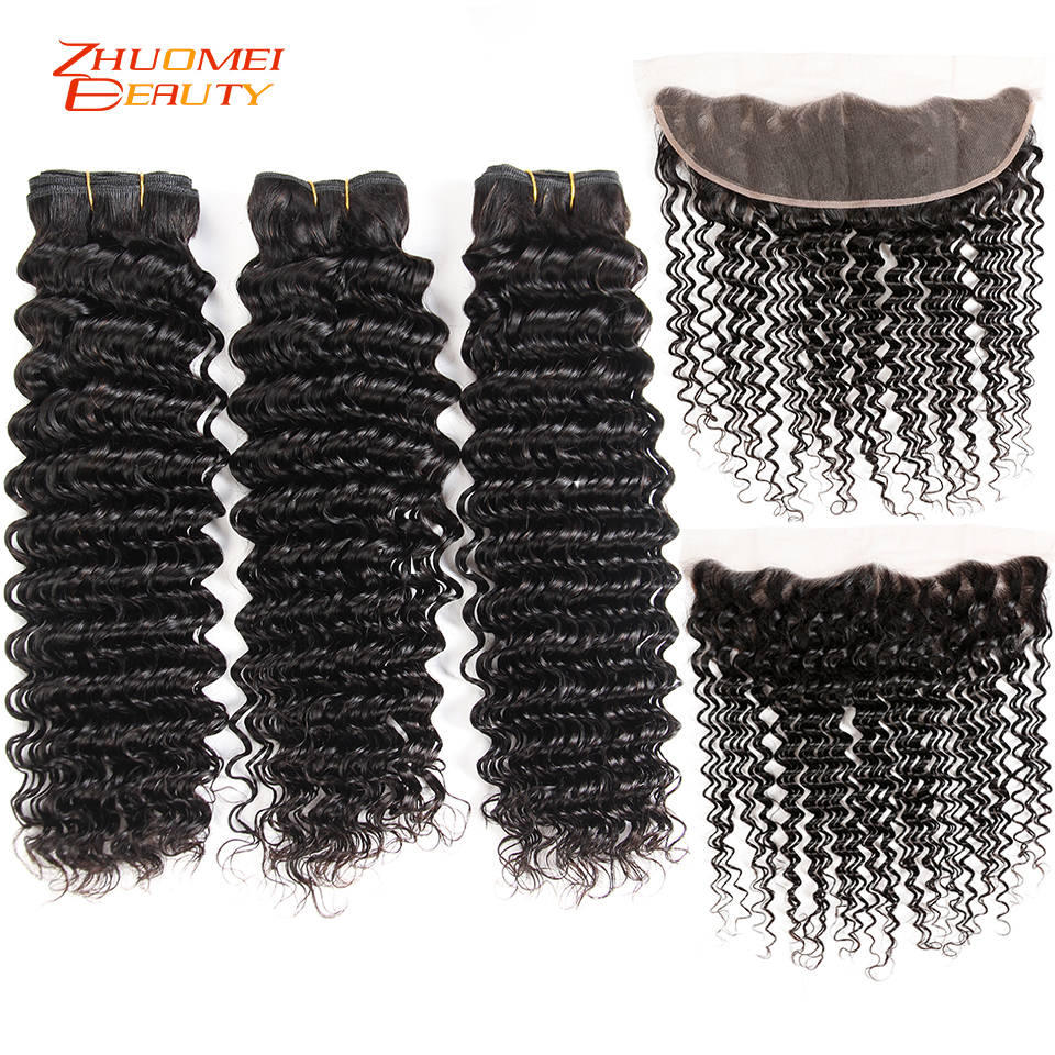 Brazilian Hair Bundles With Frontal Deep Wave 3 Bundles With Frontal 13 4 Lace Closure With