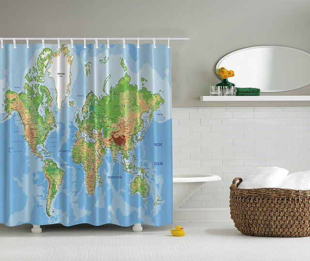 Memory Home World Map Printed Shower Curtain Novelty Decor Waterproof Mildewproof Polyester Fabric