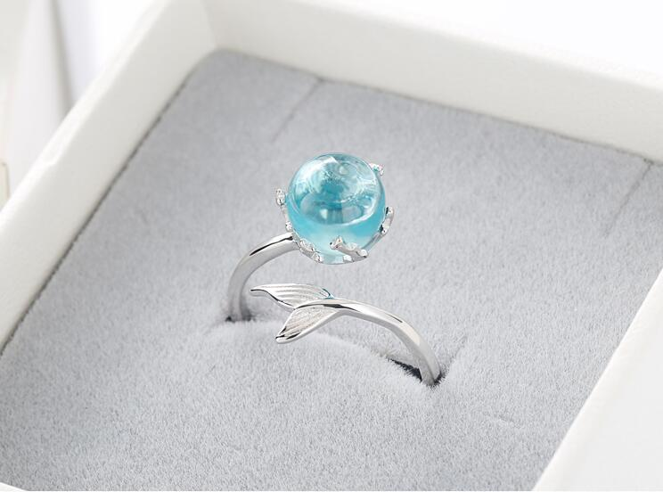 925 Sterling Silver Blue Crystal Mermaid Bubble Open Rings For Women Wedding Birthday Creative Fashion Jewelry jz137 4