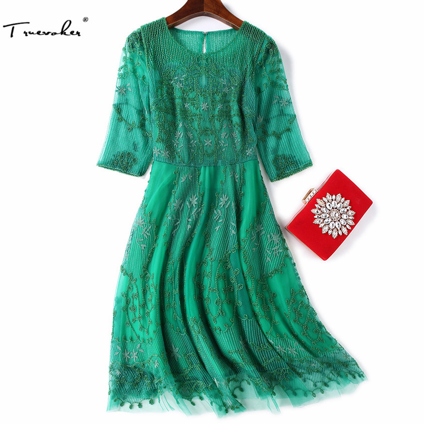 Truevoker Spring Designer Dress Women's High Quality Half Sleeve Green Beading Embroidery Knee Length Lace Boutique Dress half placket pearl beading tie cuff dress