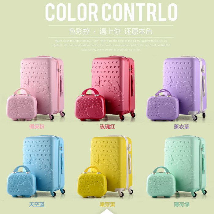 Cute cartoon trolley box, spinner wheel luggage trunk, women luggage , female 20 22 24 26 28 inch boarding password suitcase luggage 2pcs set 14 inch and 20 22 24 26 inch box rolling suitcase universal wheel travel box password girl luggage bags trunk