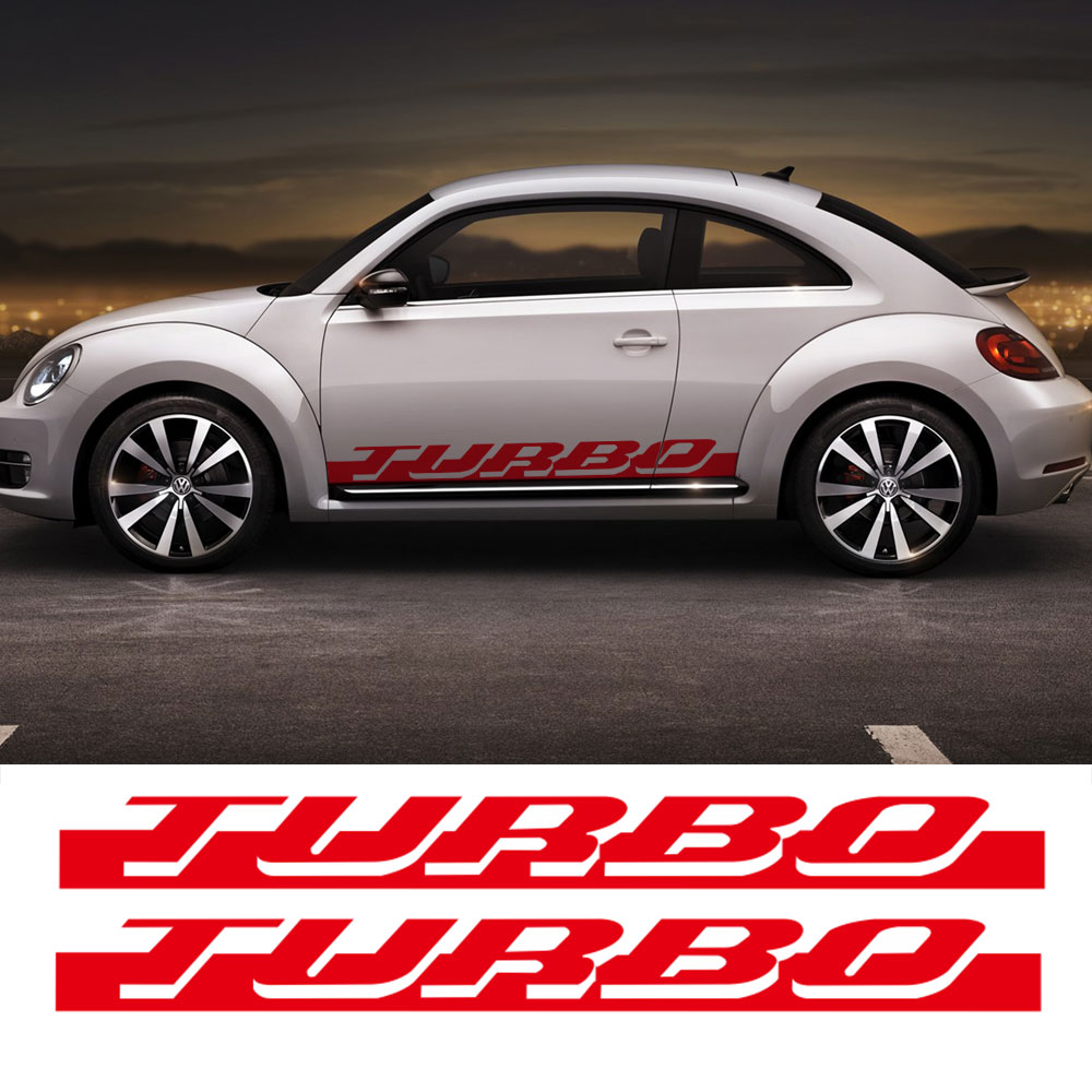Pair of Side Skirt Racing Stripe Sticker for Volkswagen Beetle Turbo Graphics Decal Stickers ...