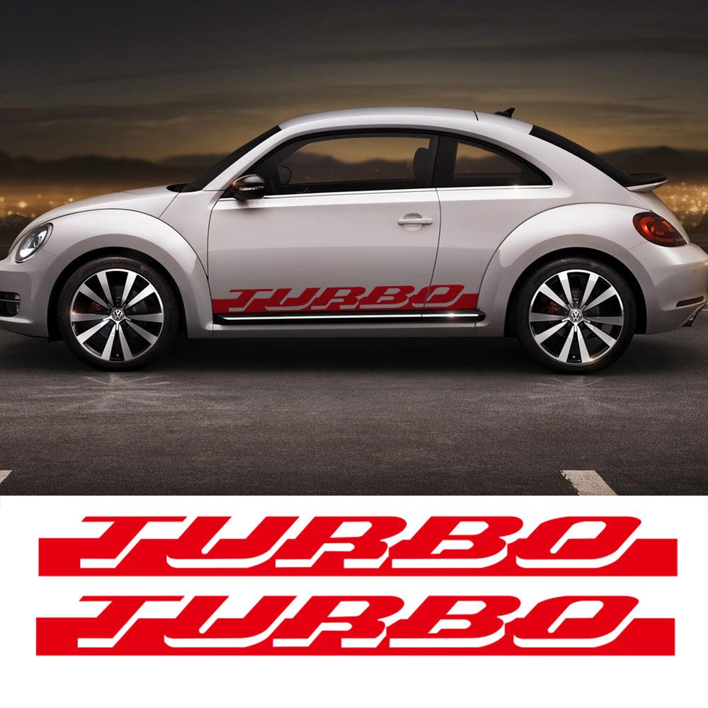 pair  side skirt racing stripe sticker  volkswagen beetle turbo graphics decal stickers