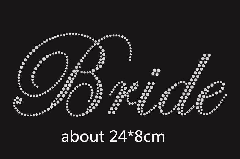 2pc lot Bride wedding transfer design rhinestones hot fix rhinestone  transfer motifs iron on applique 86465c9beb1b