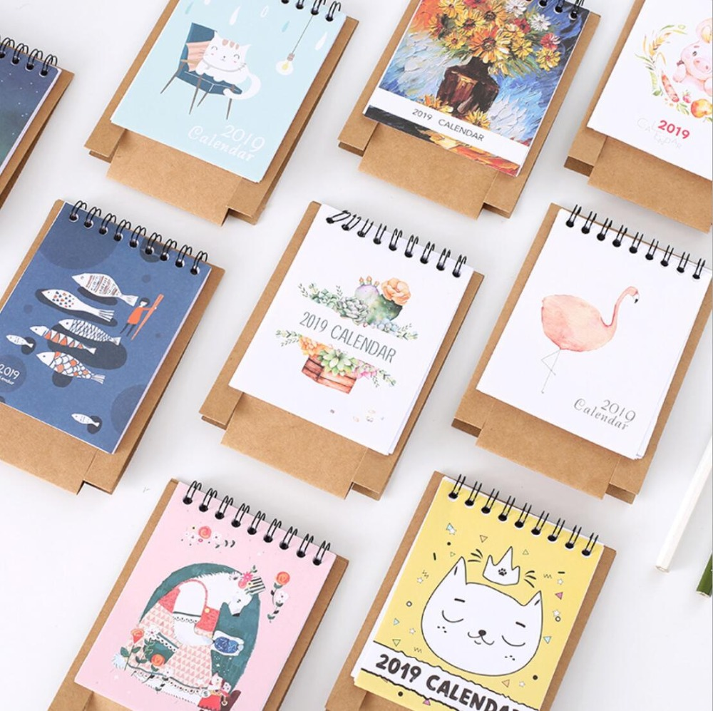 2019 New Arrive DIY Animals Mini Desktop Paper Calendar Daily Scheduler Table Planner Yearly Agenda Organizer