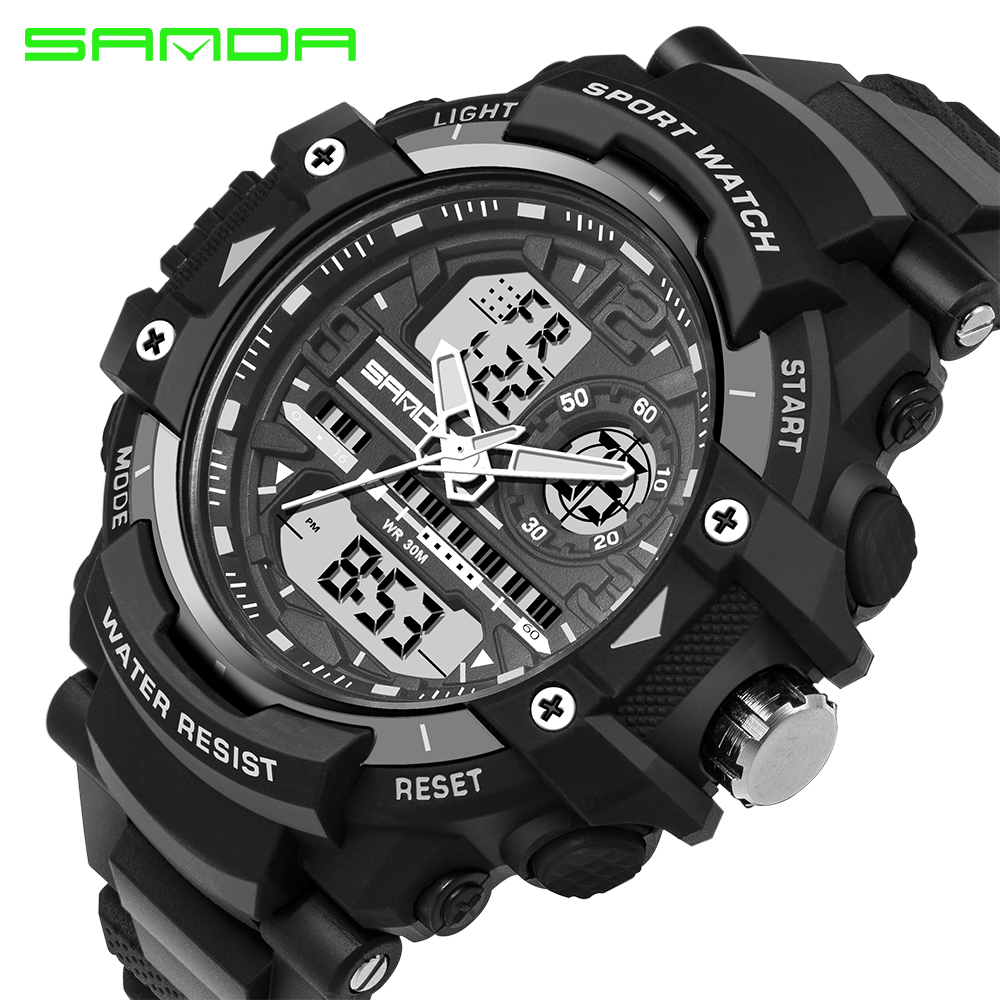 Men Quartz Watch SANDA Brand Men s Casual Multi function Digital Sports Watches Dual Time Zone