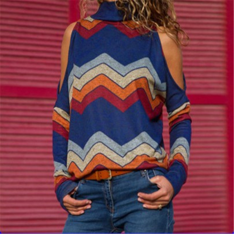 Summer Women Blouses Sexy Cold Shoulder Tops Casual Turtleneck Knitted Top Jumper Pullover Print Long Sleeve Shirt Mujer C0561