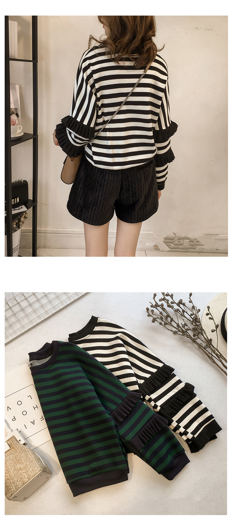 M-4xl Striped Sweatshirt Pullovers Women Plus Size Spring Autumn Ruffles Long Sleeve Tops Casual Harajuku Feminino White Green 14