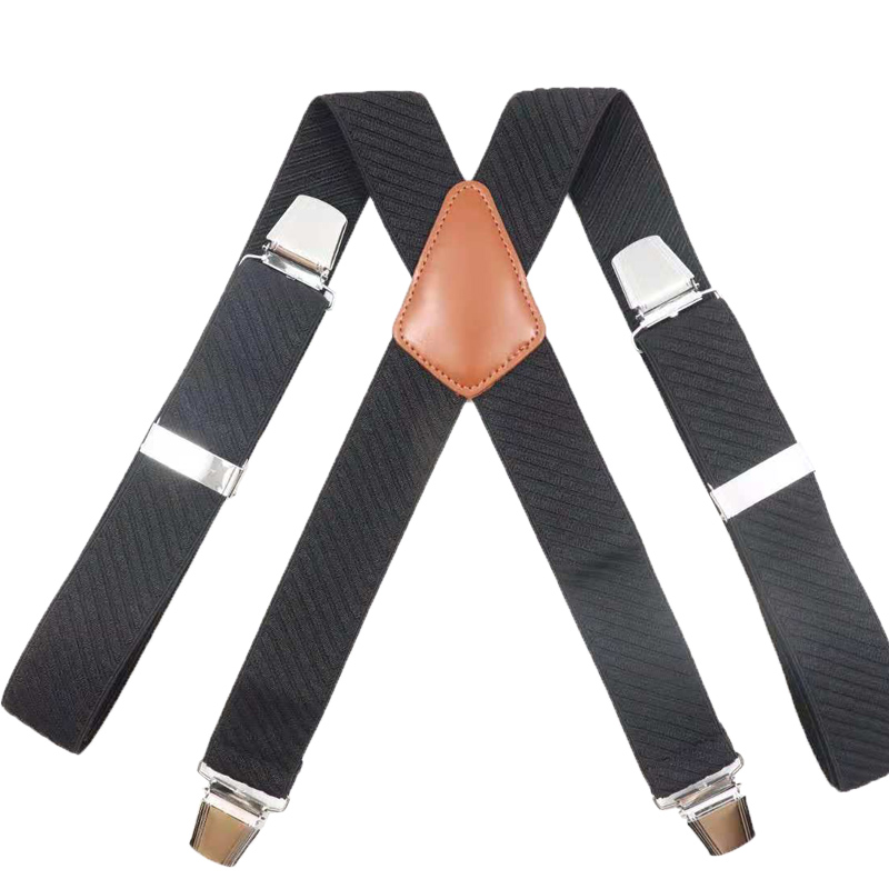 Ybmb Shirt Suspenders 3.5CM 4 Clips X-Shape Adjustable Durable Braces High Quality Leather Teel Buckles Fashion Novelty