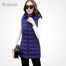 Brieuces 2017 New Winter Casual Cotton Vest Women Sleeveless Hooded Jacket Coat Colete Feminino Waistcoat Plus Size 4XL цена