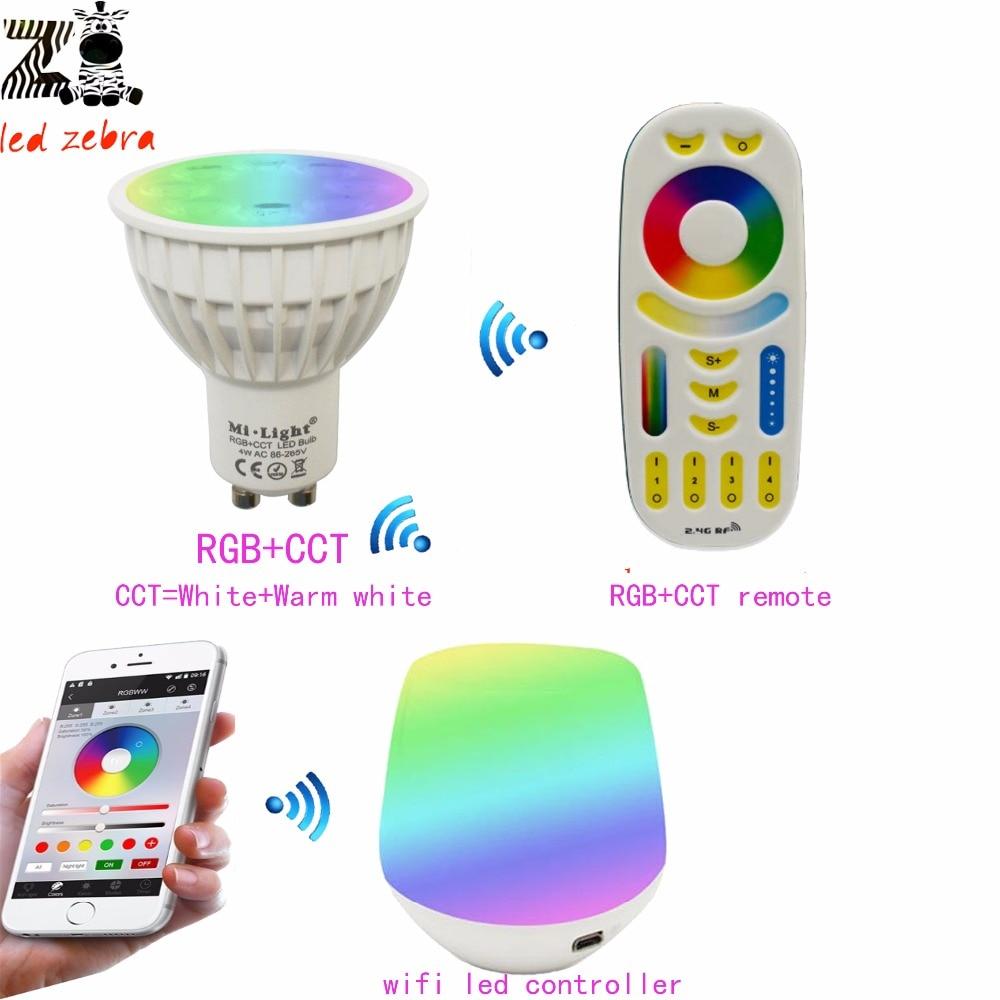 Mi.light 2.4G GU10 4W RGB+CCT Dimmable Led Bulb Lamp+Wifi Ibox Wireless Led Controller+RGB+CCT Remote Led Controller