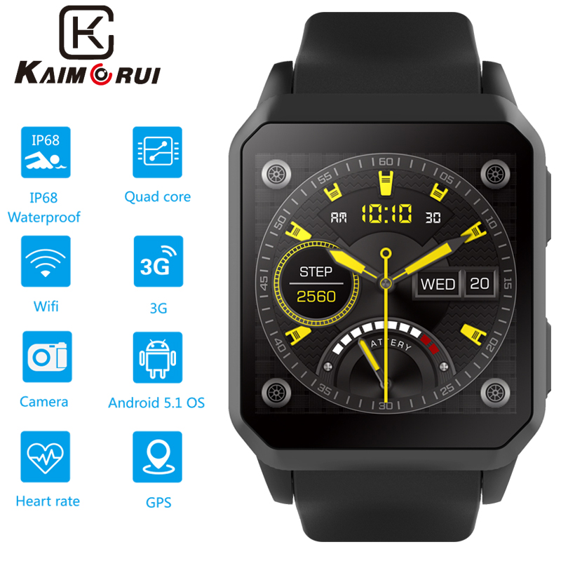 Homens Relógio da Frequência Cardíaca Do Bluetooth 3G Smartwatch inteligente com o Cartão SIM GPS WiFi Watch Phone Android 5.1 Telefone Do Relógio para o Relógio Dos Homens