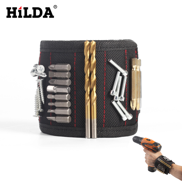 HILDA Wristband Tool Adjustable Tool Wrist Bands for Screws Nails Nuts Bolts Strong Magnet Hand free Drill Bit Holder Magnet*5