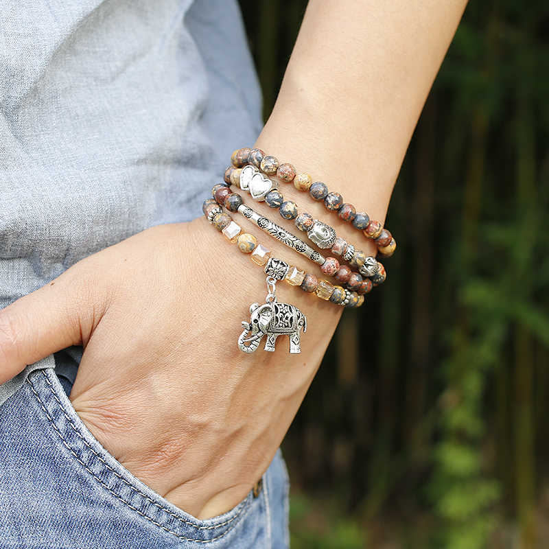 108 Kralen multi-layer Wrap Mala Armband Vrouwen Mannen Lotus OM Boeddha Boom Charm 6mm Rode luipaard Stenen yoga Armbanden