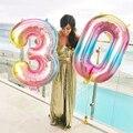 Цифровые гелиевые шары, большие радужные шары с цифрами, 16, 32 дюйма, 0, 1, 2, 3, 4, 5, 6, 7, 8, 9, украшения для свадьбы, дня рождения, детвечерние