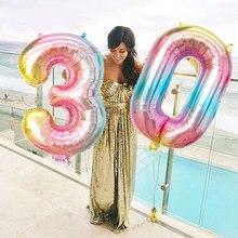 16 32 pulgadas arco iris grandes globos número 0 1 2 3 4 5 6 7 8 9 Digital globos de helio boda decoraciones para fiesta de cumpleaños chico
