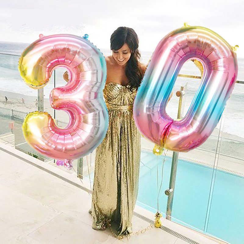 16 32 polegada Balões Número Grande Rainbow 0 1 2 3 4 5 6 7 8 9 Digital Balões de Hélio casamento Decorações Da festa de Aniversário Do Miúdo